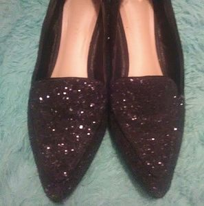 Black Glitter Pointed Toe flats Size 8